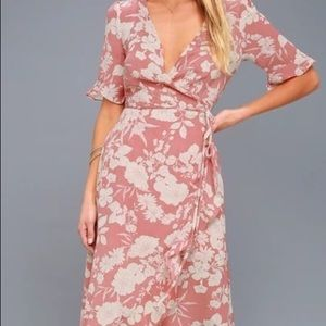 Lulus Pink Floral High-Low Wrap Dress - NWT - Sm